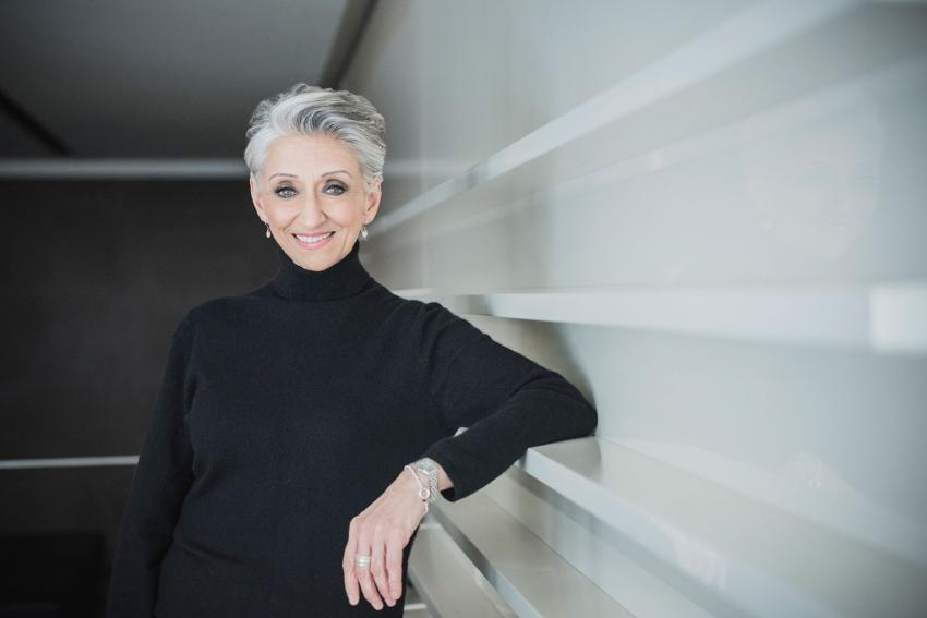woman with short gray hair