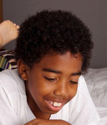 Boy with medium curls