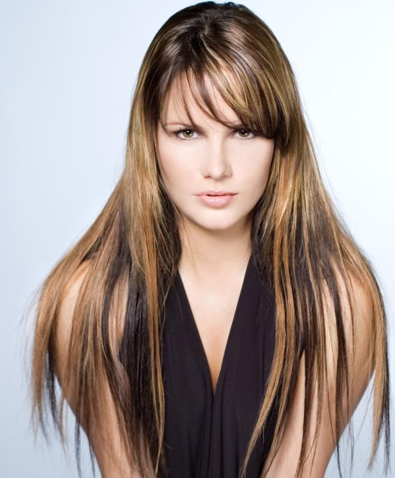 long hair with chunky highlights add interest to a long