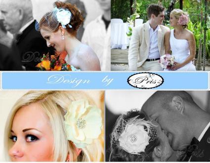Brides wearing wedding hair pieces