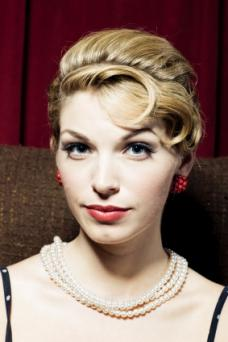 50s updo with pin curled bangs