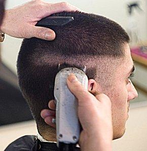 Getting a military hair cut