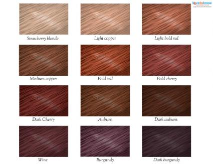 Click to download a printable red hair color chart Red Hair Color Chart