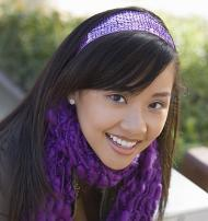 Woman with purple headband