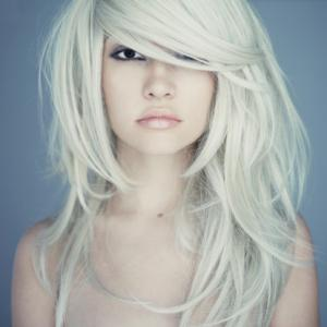 platinum blonde with long piecy hair