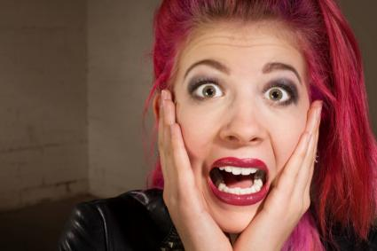 Scared Teen in Pink Hair
