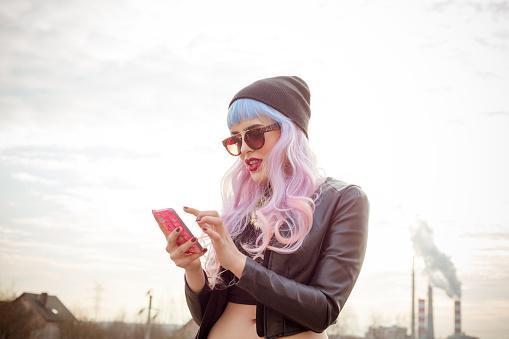 Blue-pink hair