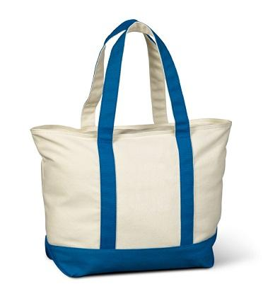 Zip Top Canvas Shopping Tote