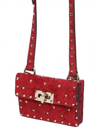 VALENTINO MINI SPIKE QUILTED SUEDE SHOULDER BAG from luisaviaroma.com