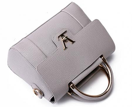 V lady luxury artificial leather black hand bag