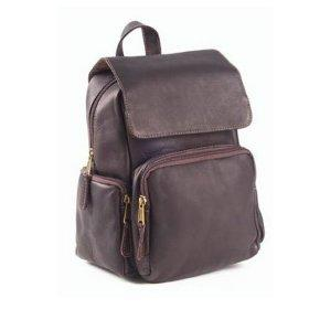 Clava Leather Multi Pocket Bookbag in Chocolate