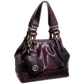 Dark Purple Leather Tote Bags