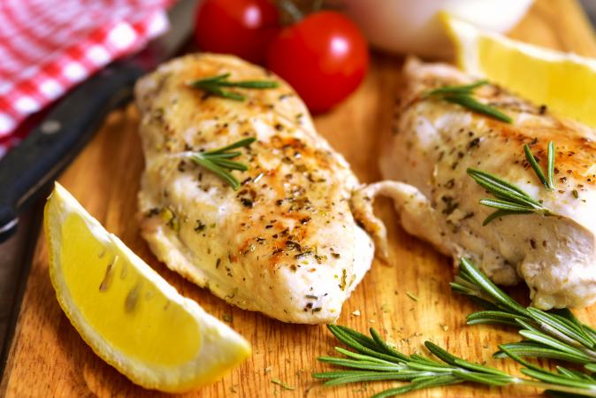 Chicken breast baked with rosemary