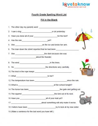 Fourth Grade Spelling Worksheet