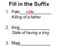 fill in the suffix worksheet