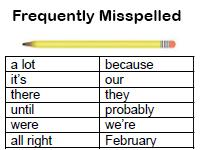 sixth grade frequently misspelled words activity