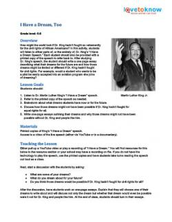 I Have a Dream, Too printable lesson plan