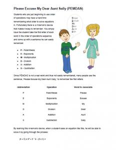 order of operations printable