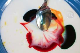 Food color surface tension experiment