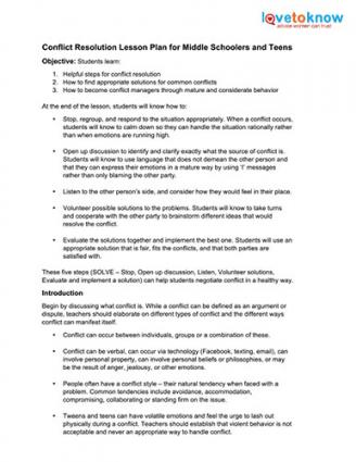 Conflict resolution worksheets high school