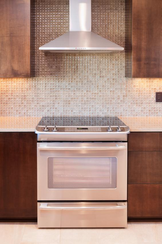 neutral mosaic glass backsplash