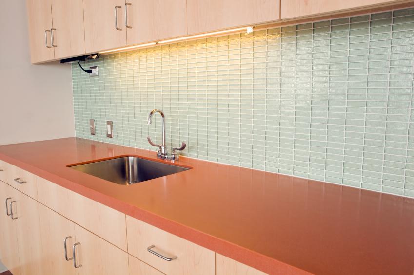 Glass subway tile backsplash