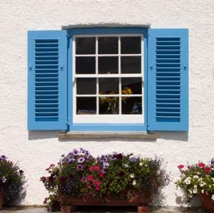 Freshly painted blue shutters.