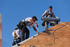 Roofers Laying Roll Roofing Materials.