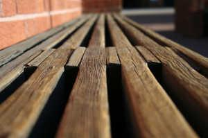 Wood deck bench