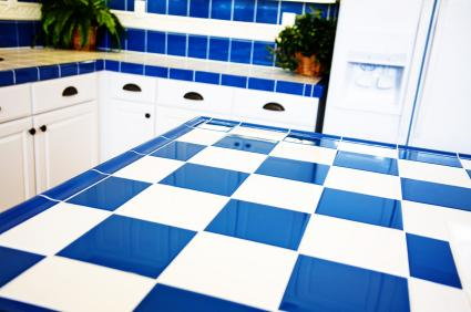 Blue And White Tile Counter