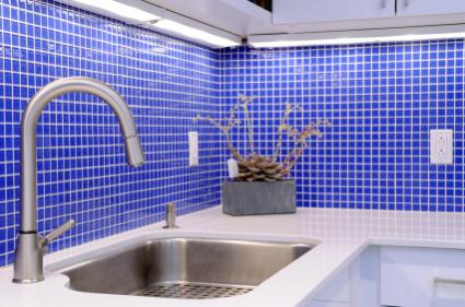 Blue glass mosaic backsplash