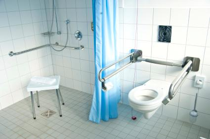 Bathroom filled with various handicap fixtures