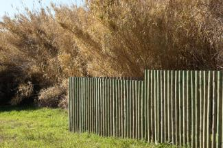 snow fence with wood slats