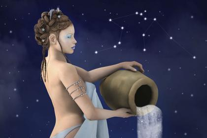 Aquarius woman pouring water against the night sky