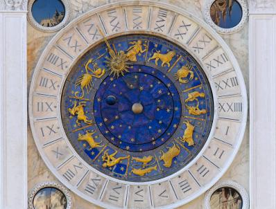 Zodiac wheel clock