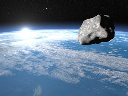 A large rocky body in space