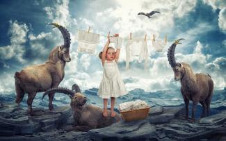 Girl with capricorns