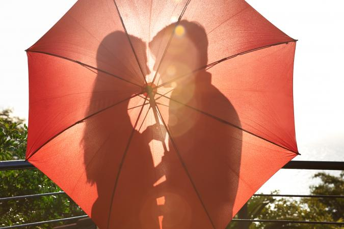 Silhouette of an affectionate couple