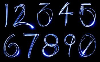 Numbers on a black background