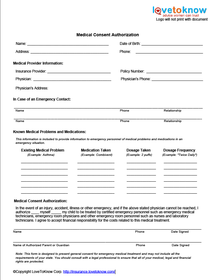 Free Medical Release Forms – Free Child Medical Consent Form