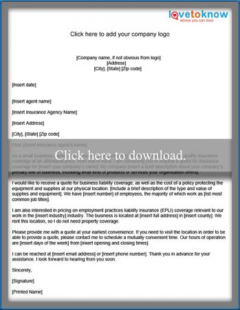 insurance quote letter template