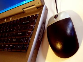 A lap-top and mouse