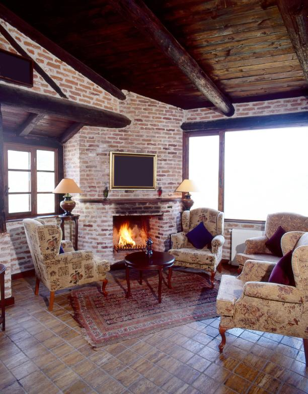 Country Living Room Fireplace