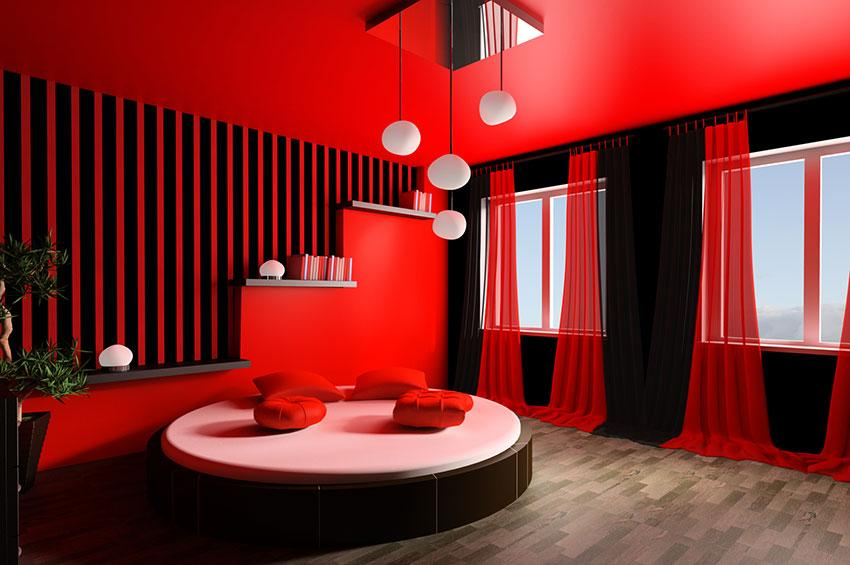 red and black bedroom walls