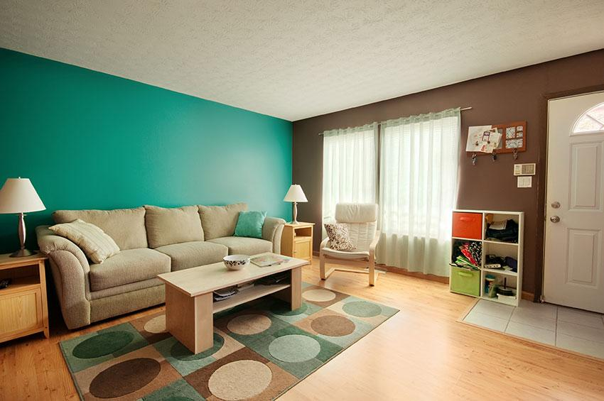 ... Teal And Brown Living Room Curtains Retro Den The Green And Brown Walls  Create A Light ...