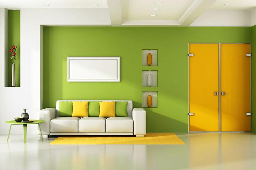 Pictures of bright wall colors slideshow Yellow green living room