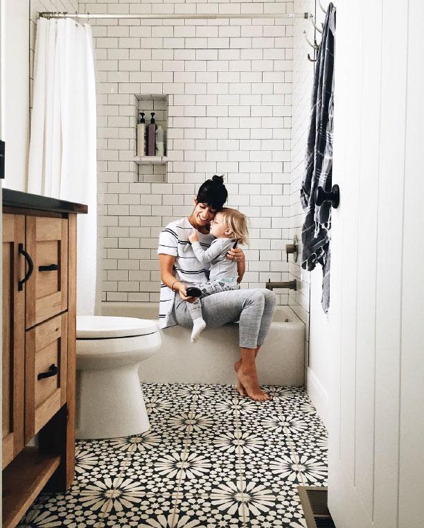 Patterned tile in bath. Bathroom Floor Tile Paint Ideas  Slideshow
