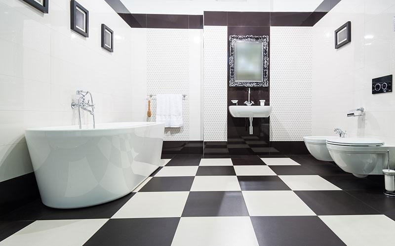Black And White Tile In Bathroom
