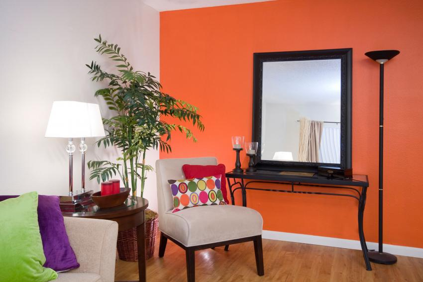 Flame Orange Living Room With Purple And Green Jewel Accent Colors