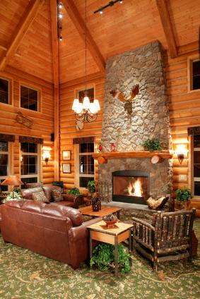 Design ideas for tall walls lovetoknow for Cabin fireplace pictures